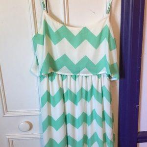 White and green chevron maxi dress